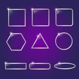 设计的玻璃网按钮 动画片重点极性集向量 库存照片