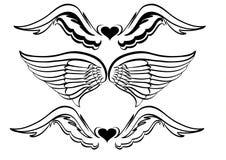 设计纹身花刺翼 库存照片