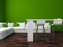 设计绿色内部居住的现代空间 免版税库存图片