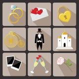设计网和Mobile.Vintage传染媒介的婚礼象 免版税库存图片