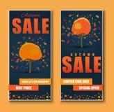 设计网横幅待售 与折扣的秋季树 库存图片