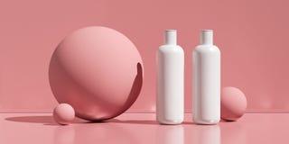 设计自然化妆奶油,血清, skincare空白瓶包装 生物有机产品 秀丽和温泉概念 免版税图库摄影