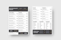 设计菜单的前面和后面页餐馆的或 库存例证