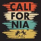 设计衣裳的, T恤杉加利福尼亚印刷术 棕榈,太阳 库存图片