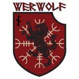 设计补丁 有狼人的纹章学敬畏盾,舵和诗歌Wolfsangel 向量例证