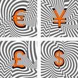 设计被设置的货币象。欧元,日元,磅, dolla 免版税库存图片