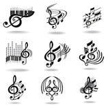 设计要素图标被设置的音乐附注 库存照片