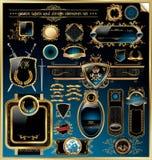 设计要素金黄标签 免版税库存图片