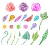 设计要素花卉图象集 边界加点eps10花方格花布缝制的针三向量 免版税库存照片