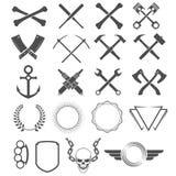 设计要素grunge 工具、形状、标志和标志 免版税库存图片