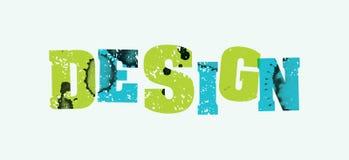 设计观念被盖印的词艺术例证 免版税库存图片