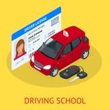 设计观念驾驶学校或学会驾驶 平的等量例证 库存照片