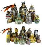 设计设置与用水晶装饰的不可思议的巫婆瓶隔绝在白色 库存照片