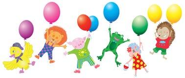 设计设置与滑稽的动物和气球 库存图片