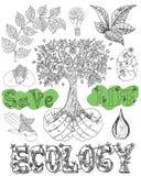 设计设置与eco象和标志 库存图片