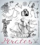 设计设置了与海盗、船、骨骼和葡萄酒海标志 免版税库存照片