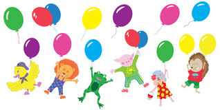 设计设置了与滑稽的动物和气球,平的样式 库存照片