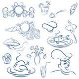 设计设计菜单餐馆或咖啡馆的元素 唤醒分支装饰有薄雾春天日出向量编织 皇族释放例证