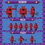 设计邪魔恶魔的平的万圣夜比赛字符 免版税库存照片