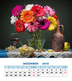 设计页日历2018年12月 与德兰士瓦da的静物画 库存图片
