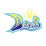 设计项目的题字海滩手拉的字法 冲浪 海浪商标或象征设计 海滩商标 免版税图库摄影