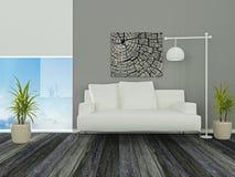 设计高雅内部居住的现代空间 免版税库存照片