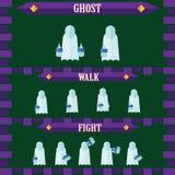 设计鬼魂的平的万圣夜比赛字符 库存照片