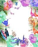 设计水彩热带花、棕榈树和鸟的框架 免版税库存图片