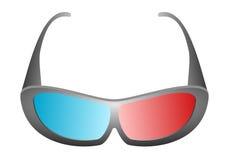黑设计3D电影玻璃正面图戏院和3D电视的与在白色背景的蓝色和红色玻璃 免版税图库摄影