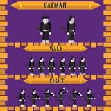 设计catman的平的万圣夜比赛字符 免版税库存图片