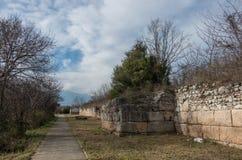 设防墙壁306-304 BC古老废墟 考古学的戴恩 免版税库存照片