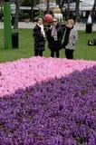 访客在TIVOLI庭院里在营业日 免版税库存图片