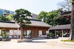 访客法庭上光孝寺在广州 免版税库存图片