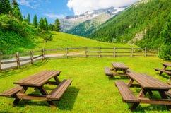 访客的野餐的长木凳,奥地利,阿尔卑斯 免版税库存图片
