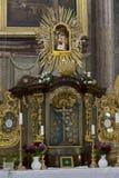 访问圣母玛丽亚,地方朝圣, Hejnice,捷克的巴洛克式的大教堂内部  免版税库存图片