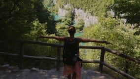 访问普利特维采湖群国家公园的妇女 股票录像