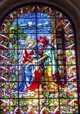访问玛丽伊丽莎白彩色玻璃重创的旧金山el 免版税库存图片