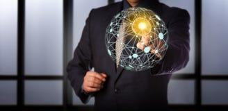 访问真正全球性网状网络的经理 库存照片