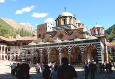 访问里拉修道院,保加利亚的游人 图库摄影