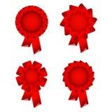 证书红色丝带玫瑰华饰 库存图片
