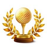 证书金黄高尔夫球 向量例证