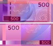 证件与扭索状装饰样式水印和边界的模板钞票500 紫色背景钞票,礼券,优惠券, 皇族释放例证
