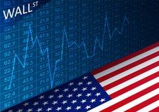 证券交易所图和美国国旗 分析在华尔街的贸易的市场上的数据 库存照片