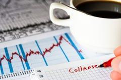 证券市场暴跌,对市场数据的分析 库存图片
