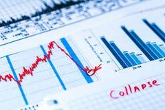 证券市场暴跌,崩溃的点 库存图片
