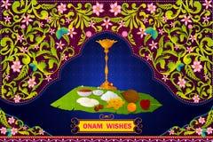 证实愉快的Onam庆祝的南印地安食物配制 向量例证