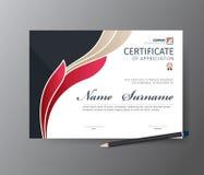 证明或文凭的传染媒介模板 免版税库存照片