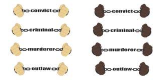 证明有罪,罪犯,凶手,违法的标志 向量例证