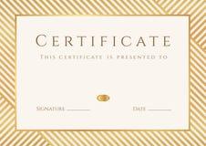 证明,文凭模板。金奖样式 免版税库存图片