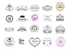 证章作为设计-生日快乐贴纸,邮票,商标一部分-设计的,做的手 使用花卉 库存照片